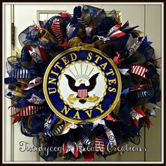Anchors Away!  US Navy deco mesh and burlap wreath with official emblem and ribbon.  Perfect for Armed Forces Day, Memorial Day or Veterans Day