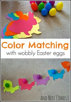 Easter color matching activity for kids using wobbly Easter eggs from And Next Comes L