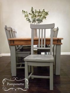 Large Spanish Farmhouse Dining Set in @anniesloanhome Paris Grey #chalkpaint. Simples! | by Pomponette | Leicester