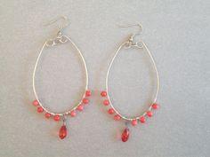 Wirewrapped Coral bead hoop earrings by CaroLinesJewel on Etsy, $15.00