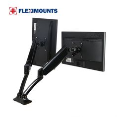 """FLEXIMOUNTS Dual Monitor Mount LCD arm,Full Motion Desk mounts for 10""""-27"""" Computer Monitor, /w Gas Spring Monitor arm and Clamp or Grommet Desktop Support"""