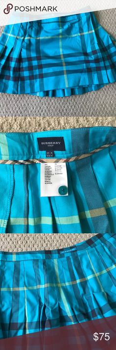 Adorable size 14 us Burberry plaid golf skirt! Wraps around and buttons- cute pleats in the back! Love this skirt and got so many compliments! Burberry Skirts
