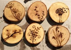 Wood Burning Plant Coaster Set by QsCraftFactory on Etsy