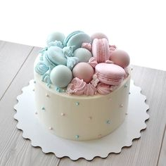 Decorating Cake Ideas For Kids - Fancy Cake Cake Decorating For Kids, Birthday Cake Decorating, Decorating Ideas, Pretty Cakes, Cute Cakes, Bolo Paris, Baby Reveal Cakes, Gateau Baby Shower, Macaroon Cake