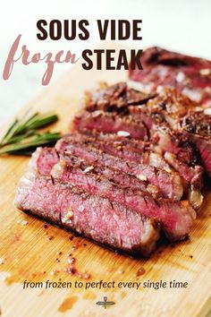 1.5 hours · Gluten free Paleo · Serves 2 · The most convenient way to cook the perfect steak straight from the freezer every single time. #sousvide #sousvidecooking #sousvidesteak Whole Food Recipes, Healthy Recipes, Healthy Food, Sweets Recipes, Easy Recipes, Easy Family Meals, Easy Meals, Family Recipes, Pork Roast In Oven
