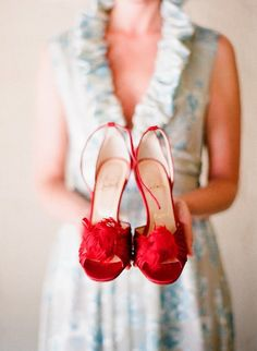 red feather shoes
