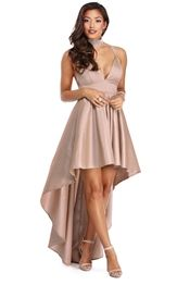 Lizbeth Taupe Classic Twist Formal Dress