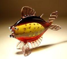 blow glass animals | Blown-Glass-Murano-Art-Animal-Figurine-PIRANHA-FISH