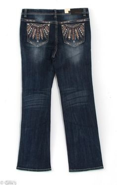 Grace in LA Plus Size Jeans Straight with Feather Embellished Pockets