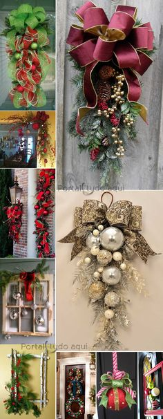 Chic and creative decoration for Christmas and parties or .- Schicke und kreative Dekoration für Weihnachten und Partys ohne viel Geld auszu… Chic and creative decoration for Christmas and parties without spending a lot of money! Gold Christmas Decorations, Christmas Swags, Christmas Door, Holiday Wreaths, Rustic Christmas, Christmas Holidays, Christmas Ornaments, Christmas Projects, Holiday Crafts
