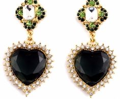 Heart-Shaped Black Stud Earrings with Rhinestones Deco. Make you excited in these total stunners! These earrings have heart shaped. spenditonthis.com