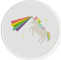 FREE for Feb 1st 2015 Only - Unicorn Rainbow Laser Cross Stitch Pattern