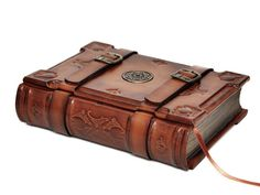 Handmade brown leather journal Medieval style 6x8 inch by dragosh, $220.00