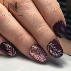 Gorgeous Pink Glitter and Dark Purple Leaf Nail Design