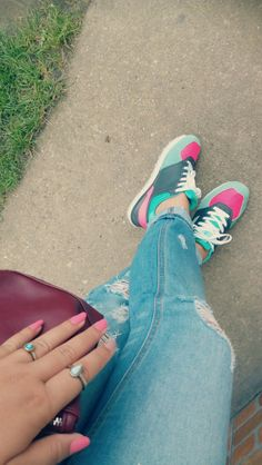 Mint and pink sneakers