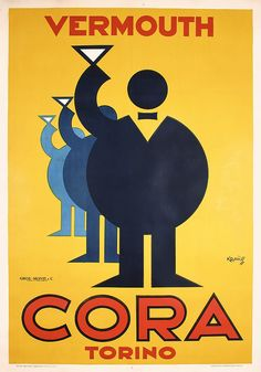 Original 1930s VERMOUTH CORA Art Deco Italian Poster. Part of our November 3, 2013 poster auction.