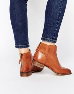 Image 1 of Dune Philbert Clean Leather Zip Back Ankle Boots tanboots Tan Leather Boots, Tan Boots, Leather Flats, Ankle Booties, Bootie Boots, Shoe Boots, Shoes Heels, Cute Shoes, Me Too Shoes