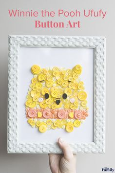 """Add a dose of adorable to any room or party with this Winnie the Pooh Button Art—inspired by the cuddly Ufufy plush! This easy DIY makes for a gift or decor that's as """"sweet as hunny,"""" and just requires some buttons, glue, and a frame. Click for the Winnie the Pooh craft tutorial."""
