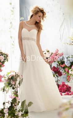 Simple Sweetheart A Line Wedding Dress With Jewel Illusion Neckline