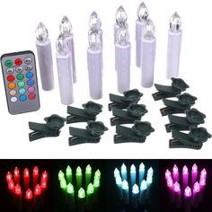 10pcs Remote Control Colorful LED Flameless Candle Light Xmas Decor