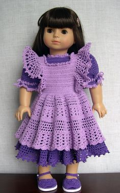 """18 inch Doll Clothes  Handmade outfit made to fit 18"""" dolls like American Girl (AG) and Gotz  Tess is modeling this crochet dress and pinafore made from a vintage baby pattern (""""Delicate Dresses"""")   I used #10 thread and a smaller hook instead of yarn With a few simple adjustments it fits great Sandals are also from an infant pattern         ( """"Booties by the Dozen"""" ) (made by Barb Marlee)"""