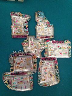 Vintage Souvenir State Trinket Trays Co MI ID OK MN TX Ka | eBay