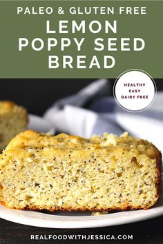 This Paleo Lemon Poppy Seed Bread is easy, lightly sweetened, and perfect for breakfast or a snack. So moist and delicious while still being gluten free and dairy free. #paleo #paleobread #lemonbread #glutenfree #easyrecipe #dairyfree | realfoodwithjessica.com @realfoodwithjessica