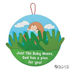 Handprint Baby Moses Sign Craft Kit For Recharge: hide Moses's Mom, sister, & Pharoah's daughter behind the tall grass. Bible Story Crafts, Bible School Crafts, Preschool Bible, Bible Activities, Bible Stories, Vbs Crafts, Church Crafts, Preschool Crafts, Crafts For Kids