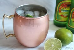 Moscow Mule // 1/2 lime, 2 oz. vodka, 6 oz. ginger beer - such as Reed's or Gosling's, Crushed ice.  Fill a Collins glass or a Moscow Mule mug with ice. Squeeze lime half into glass and drop in spent rind. Add vodka and fill with cold ginger beer. Garnish with additional lime slices, if desired. Makes one cocktail