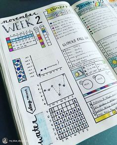 Bullet journal inspiration weekly daily pages tracker and to do list.