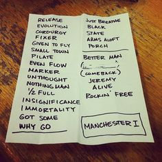Pearl Jam. Set list, Manchester, 20 June 2012. Amazing to be there!