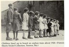 Children lined up to board the Orphan Train - this train came through Arkansas when my mother was young