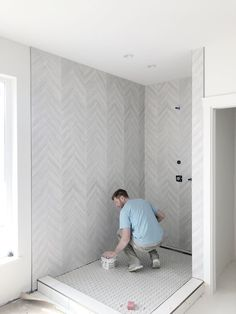 This chevron tile paired with a medium hex on the floor is underway at this project I have been working on at Tobiano Chevron Bathroom, Chevron Tile, Modern Bathroom, Master Bathroom, Master Shower Tile, Chevron Floor, Herringbone Tile, Tuile Chevron, Master Bath Remodel