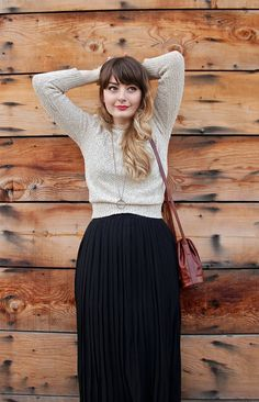 I'm pretty obsessed with this casual take on a pleated maxi. Pair with a neutral sweater and flat lace up boots