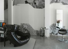 detail Interior Walls, Interior Design, Egg Chair, Amsterdam, Black And White, Studio, Detail, Wallpaper, Inspiration