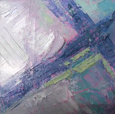 """Mixed Media Artists International: Small Abstract Painting, Daily Painting, Small Oil Painting, Purple and Green, 8x8x1.5"""" Oil"""