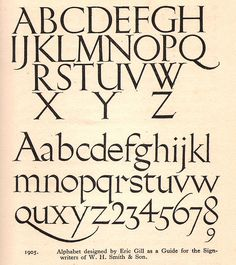 Eric Gill - typeface or alphabet designed for W H Smith & Sons shops, c1925 by mikeyashworth, via Flickr