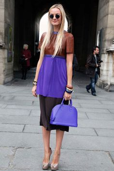 Go for rich pops of purple like Virginie Courtin-Clarins #streetstyle
