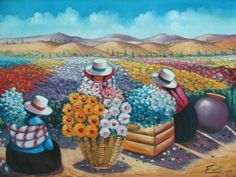 floristas 3 Peruvian Art, South American Art, Cuban Art, Indian Flowers, City Folk, Arte Pop, Naive Art, Illustrations, Culture