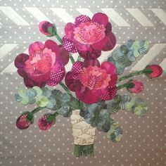16th and Baltimore quilt, Block 3, at Eye Candy Quilts. Features rich showy peonies and fragrant eucalyptus branches.