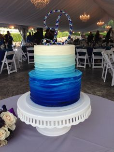Textured buttercream wedding cake, 2 tier, blue ombre. || Rettew's Catering  www.rettewscatering.com
