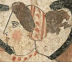 Greek Woman 4th century BC using probably rouge.. (Paestum)