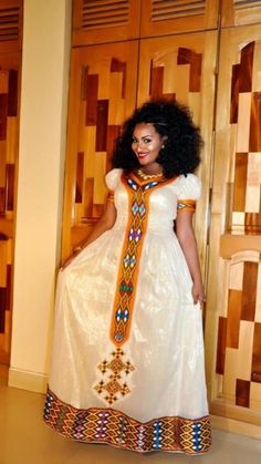 This traditional Habesha dress is perfect for your traditional Ethiopian wedding, Eritrean Wedding or personal collection of beautiful African dresses. African Dresses For Women, African Print Dresses, African Fashion Dresses, African Attire, African Wear, African Women, African Prints, African Style, African Fashion Designers
