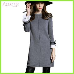 APOENGE 2018 New Autumn Winter Woolen dress knitted dress Women Long sweater dress large size mini dress vestido de festa LZ205