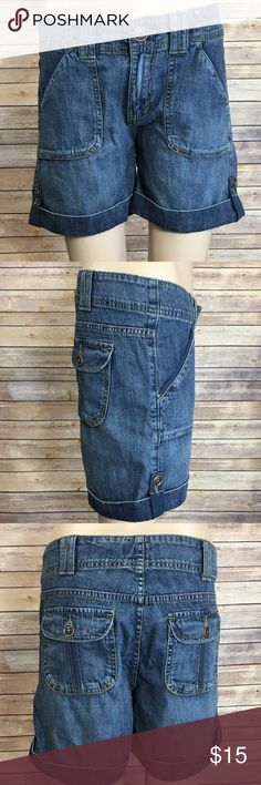 """Adorable Lee One True Fit Shorts - 6M Cute lower on the waist shorts with little button embellishments. From Lee, One True Fit Shorts. Size 6M. Has front and back pockets. 100% cotton. Good condition. Measurements (flat): waist: 15.5""""; inseam: 5.25""""; hips: 17""""; waist to crotch: 9"""". Lee Shorts Jean Shorts"""