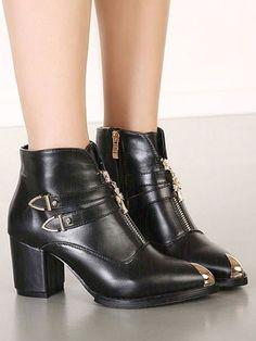 Black Fashion British Style High-heel Boots