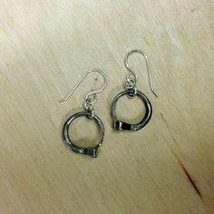 Horseshoe Nail Circle Dangle Equestrian Earrings on Etsy, $20.00