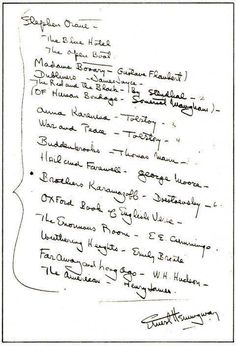 Ernest Hemingway Creates a Reading List for a Young Writer, 1934 The Blue Hotel by Stephen Crane The Open Boat by Stephen Crane Madame Bovary by Gustave Flaubert Dubliners by James Joyce The Red and the Black by Stendhal Of Human Bondage by Somerset Maugham Anna Karenina by Leo Tolstoy War and Peace by Leo Tolstoy Buddenbrooks by Thomas Mann Hail and Farewell by George Moore The Brothers Karamazov by Fyodor Dostoyevsky The Oxford Book of English Ve