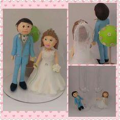 #biscuit #casamento #noivos #a #coldporcelain #clay #wedding #cake #bride #topper #lembranças  Topo de bolo personalizado - Elena e Amadeu 12 março 2016