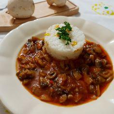 Reteta Ciuperci in sos de rosii picant - de post Falafel, Chili, Curry, Soup, Beef, Recipes, Meat, Curries, Chili Powder